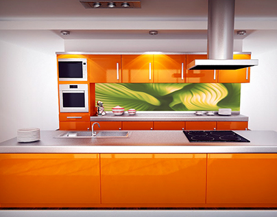 Kitchen Splash Backs-Glass