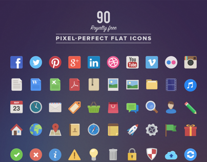 90 Royalty Free, Pixel-Perfect Flat Icons