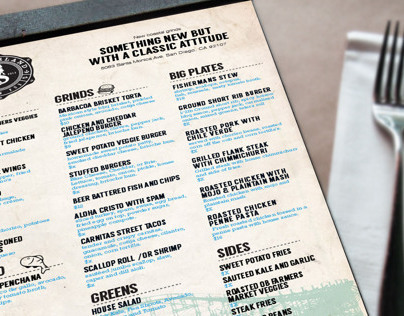 Wonderland Ocean Beach menu design.