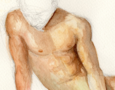 Male figure - water colour study
