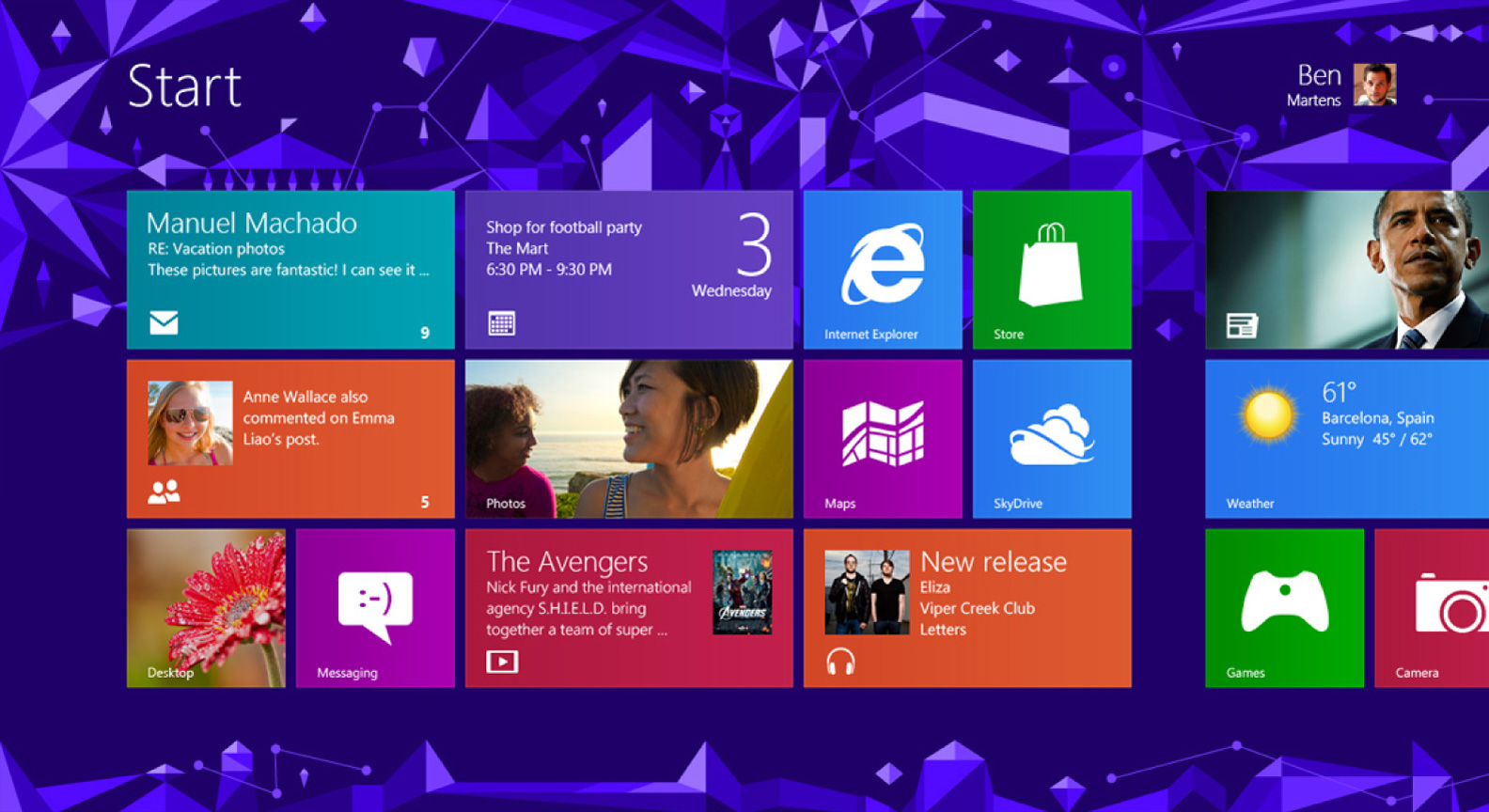Windows 8 Start screen background design