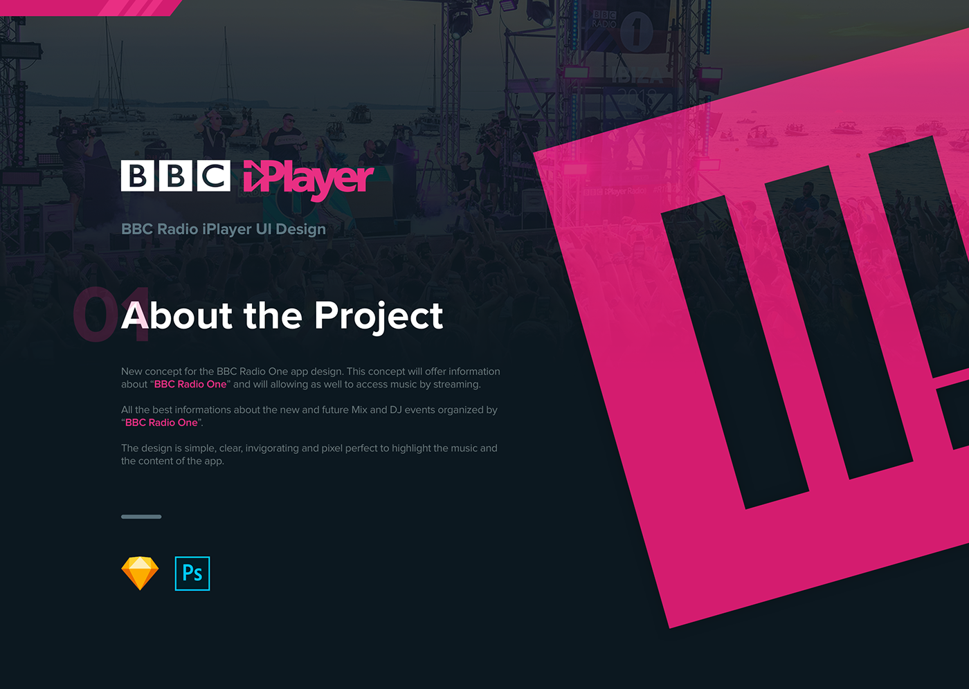 Concept design BBC Player Radio One