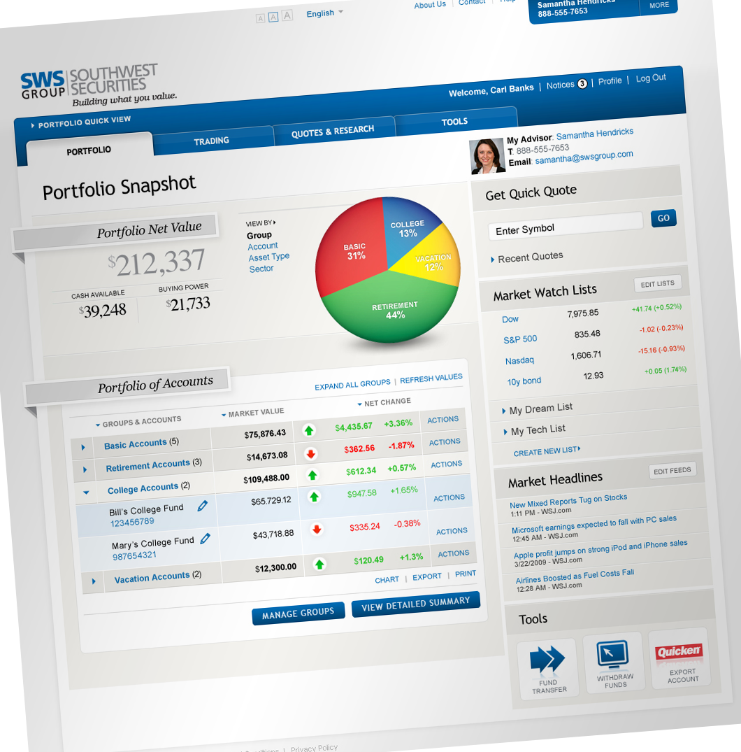 Southwest Securities (SWS) Financial Web App