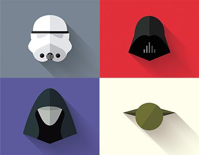 Star Wars - Long Shadow Flat Design Icons