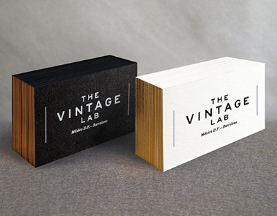 Logo and business card design for THE VINTAGE LAB