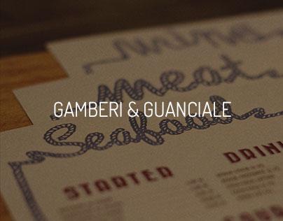 gamberi & guanciale restaurant. [menu + logo]