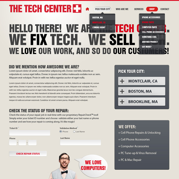 UI Design for Tech Center Website