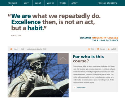 Erasmus University College, website 2012