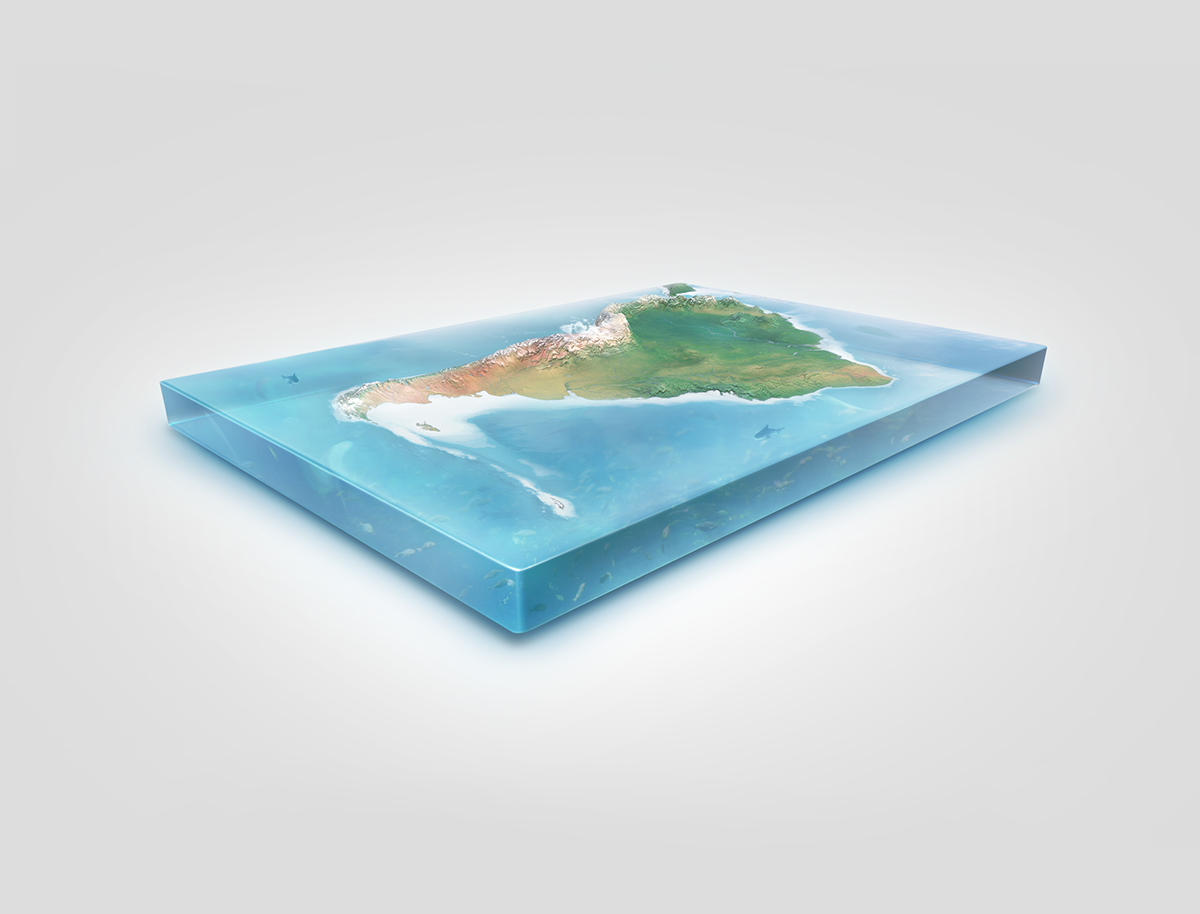 Realistic South America 3D Map