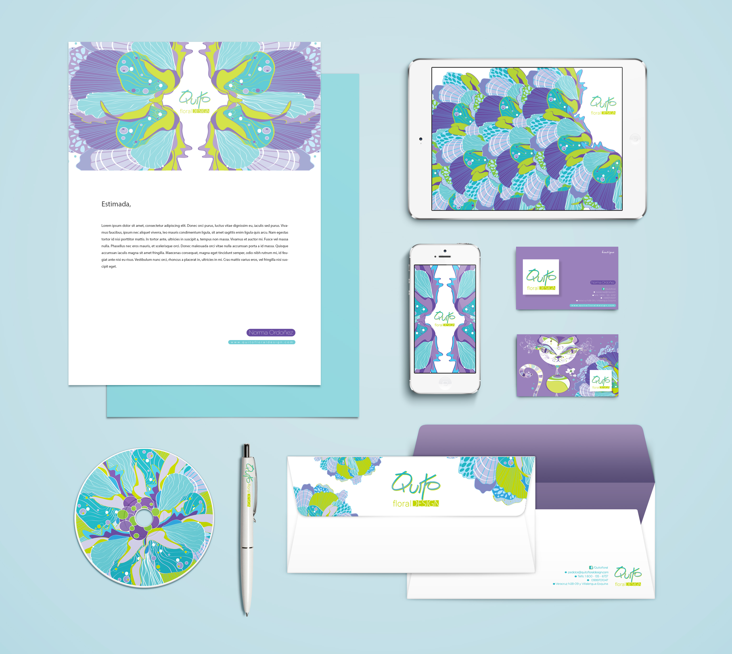 Branding and illustration QUITO FLORAL DESIGN