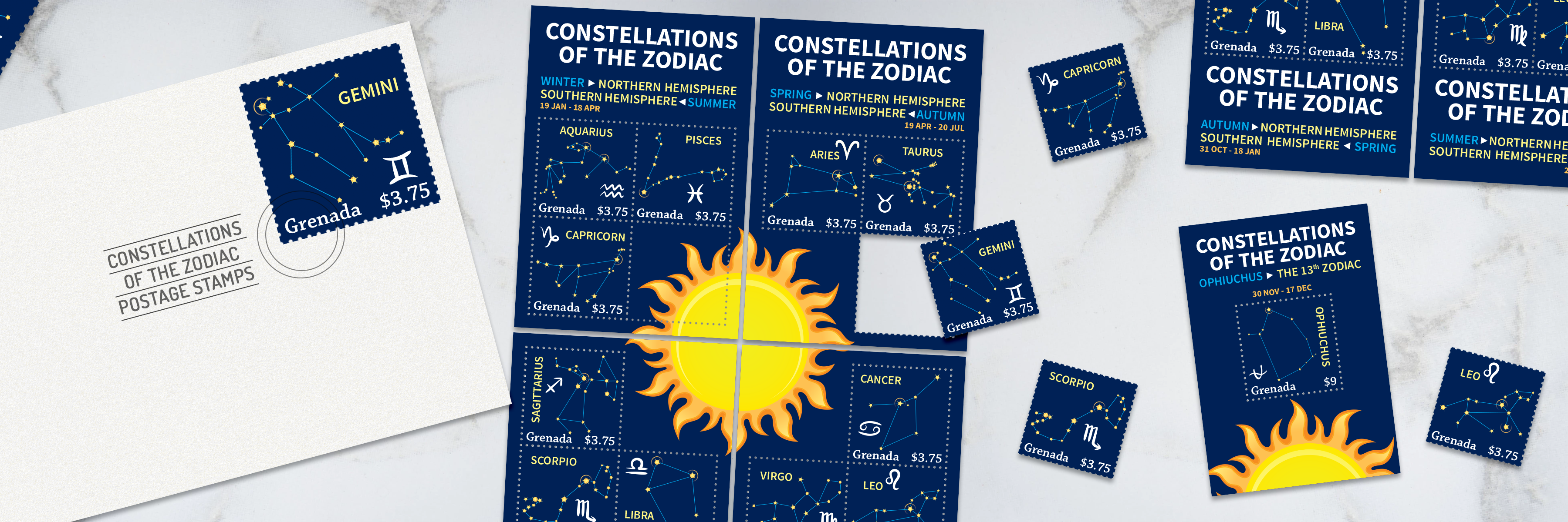 Constellations of the Zodiac Postage Stamp Set