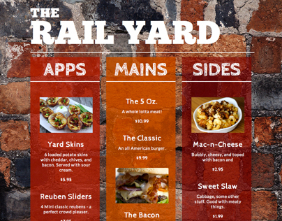 The Rail Yard - responsive menu design