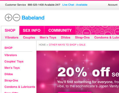 Babeland.com | website redesign