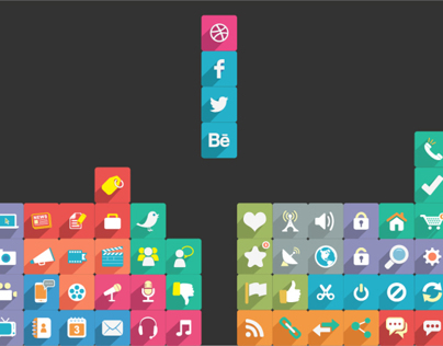 Long Shadow Flat Icons (PSD)