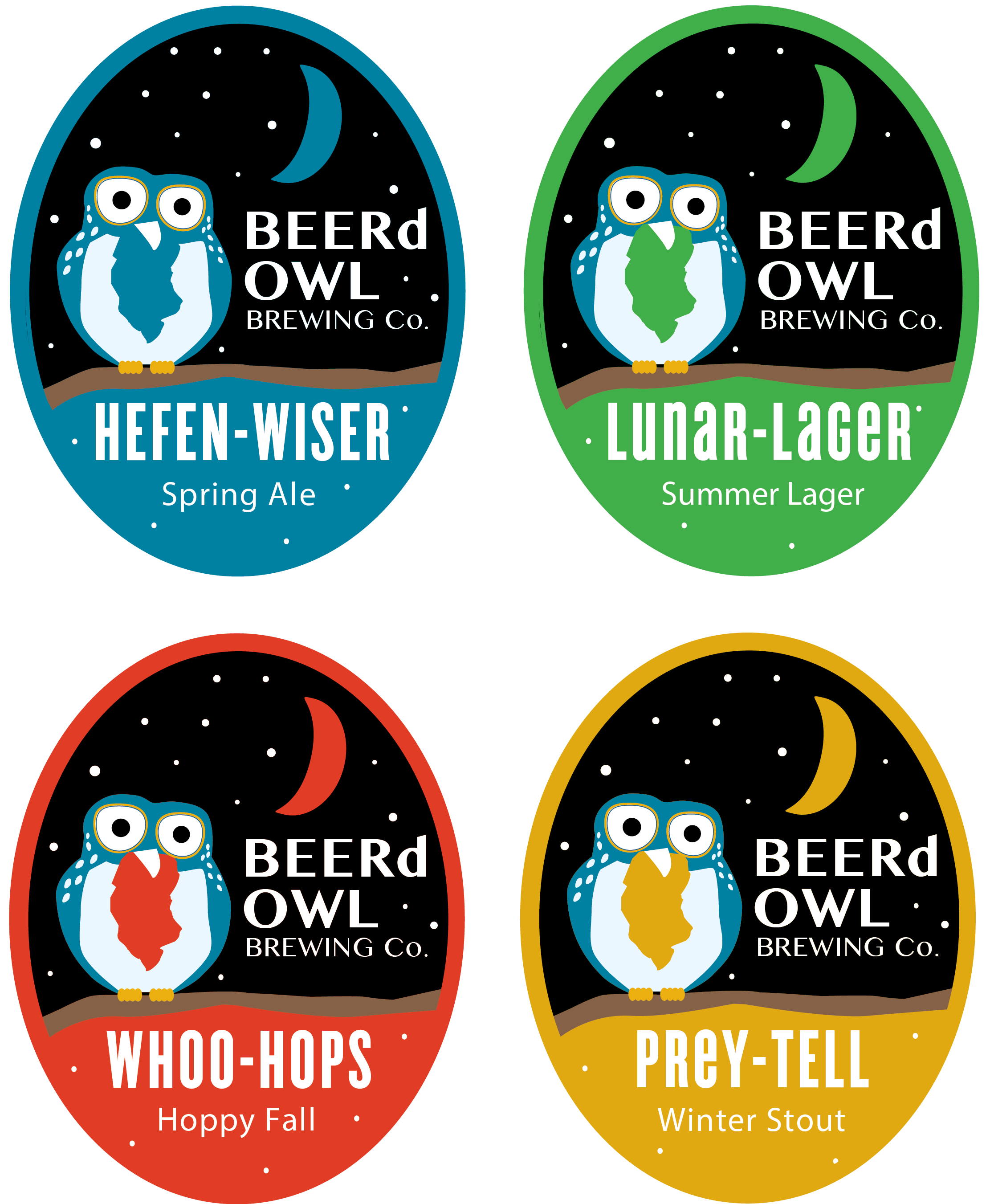 BEERd Owl Brewing Labels