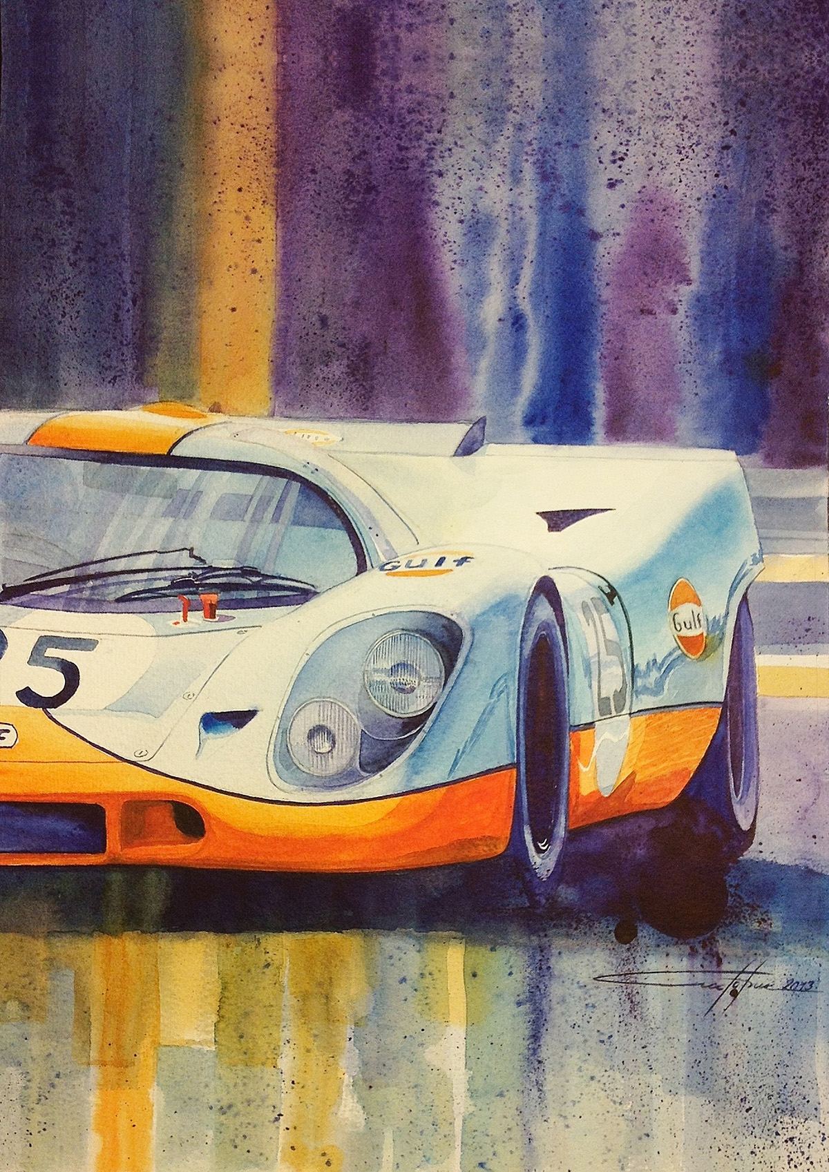 Start your engines! 3..2..1.. (Water colour art works)