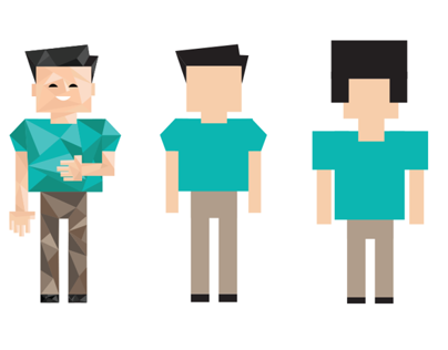 Low Polygons and pixels characters design