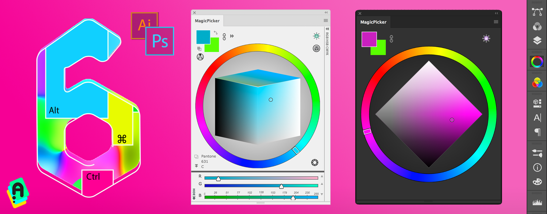 Color Wheel for Photoshop CC,CS6,CS5,CS4,CS3 panel