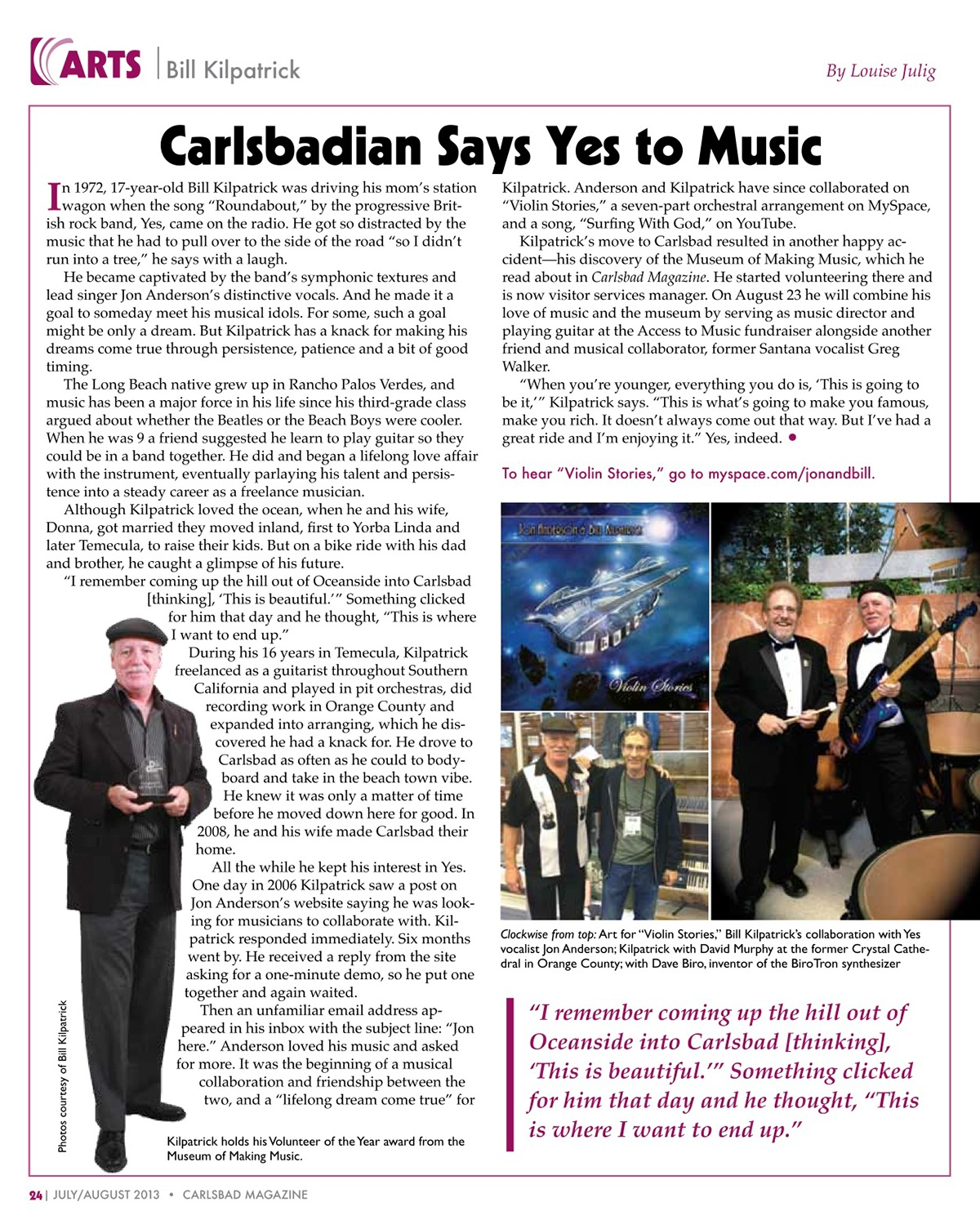 Carlsbad Magazine: Musician Sees Dream Come True