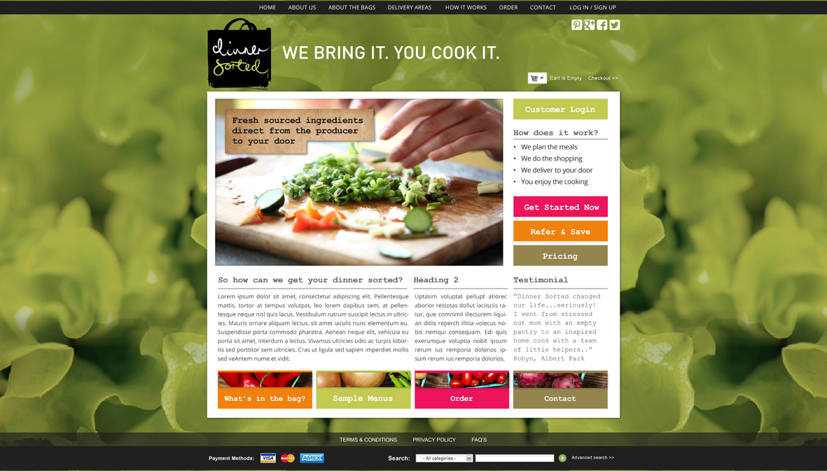 Dinner Sorted Web, IU & Mobile App Design